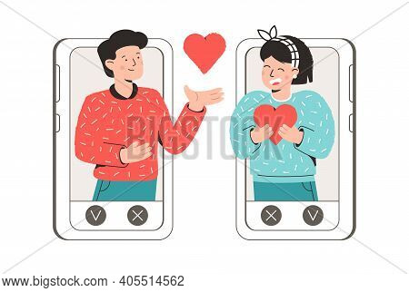 Man And Woman Send Each Other Valentines. Online Love Chat In Internet. Online Dating Or Dating Site