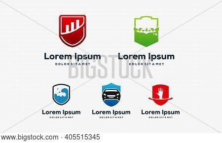 Set Of Shield Logo, Nature Shield Logo,water Shield, Science Shield Logo, Automotive Shield Logo, St