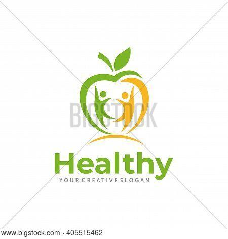 Apple Logo Design. Wellness And Healthy Nutrition Logo Design Vector