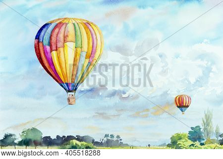 Watercolor Landscape Painting Colorful Of Tourism Family In Balloon And Blue Sky Cloud And Meadow Mo