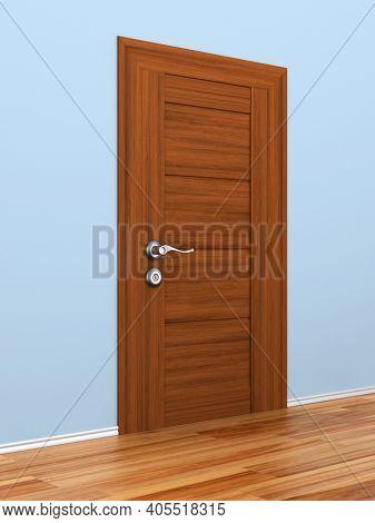 closed door in hall. 3D illustration