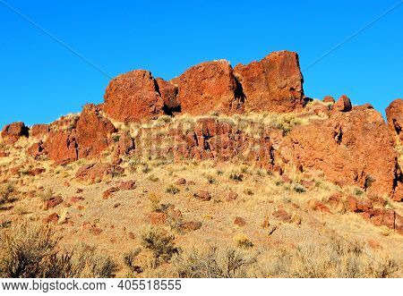 Three Rock Brothers - A Triple Red Rock Formation At Jasper Rocks - Crooked River National Grassland