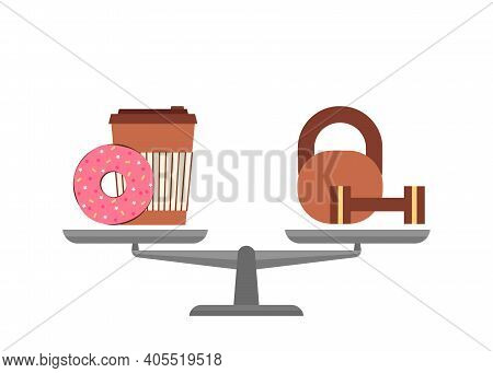 Scales In Balance, Choice Fast Food Or Sport, Health. Donut Cake With Coffee Or Dumbbell In Comparis
