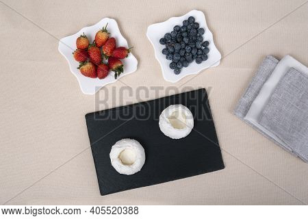 Ingredients For Berry Cakes. Cake Anna Pavlova. Top View
