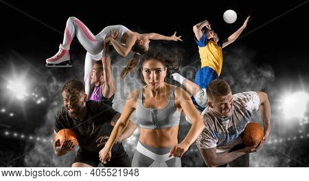Sport collage. Running, figure skating, rugby, volleyball on dark sky background