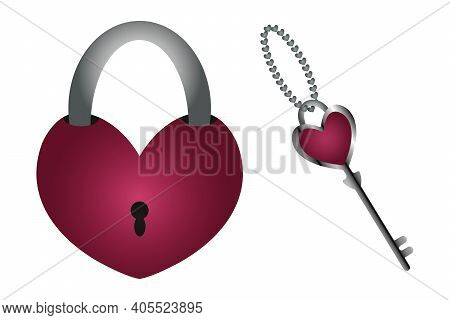 The Key To The Heart. Door Lock And Key In The Shape Of A Heart. A Symbol Of Love And Strong Relatio
