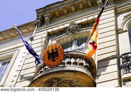 Bordeaux , Aquitaine  France - 01 24 2021 : German Consulate Republic Text Logo And Coat Of Arms Bun