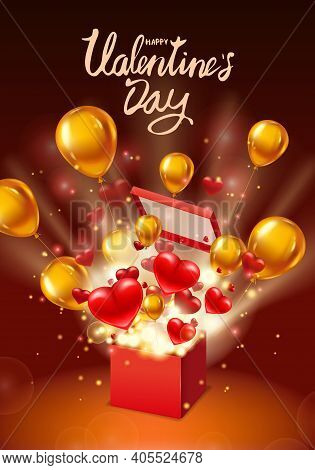 Happy Valentines Day Gift Box Open Present, Lettering, With Flying Hearts, Ballons Gold And Bright R