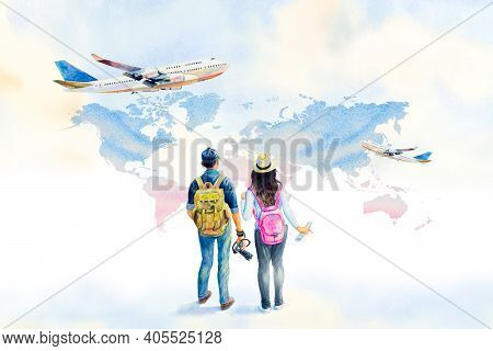 World Tourism Day. Watercolor Painting Illustration Asian Couple With Backpack Going Traveling With