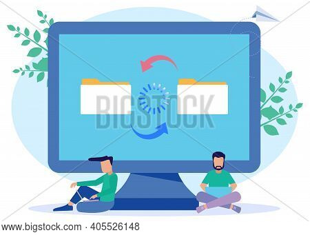 Modern Style Vector Illustration. People Character File Sharing, Encrypted Transfer, Documentation T