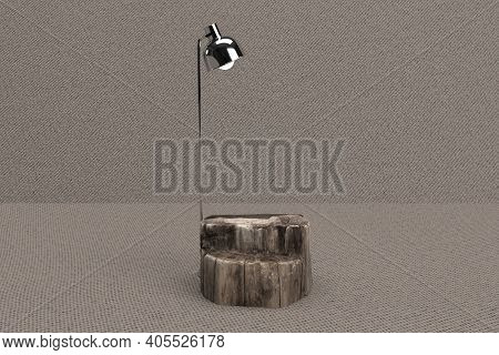 Wooden Product Display With Focus Light In Jute Background 3d Rendered
