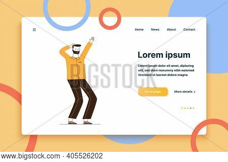 Confused Man Realizing Problem. Bearded Male Character Scratching Head Flat Vector Illustration. Con