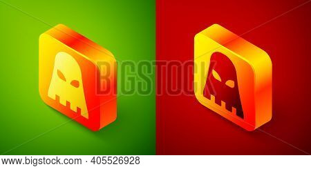 Isometric Executioner Mask Icon Isolated On Green And Red Background. Hangman, Torturer, Executor, T