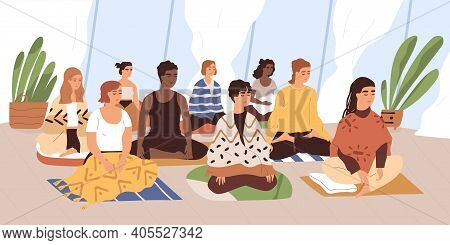 Group Of Young Women Sitting On Mats, Meditating And Performing Breath Control Exercises. Yoga Retre