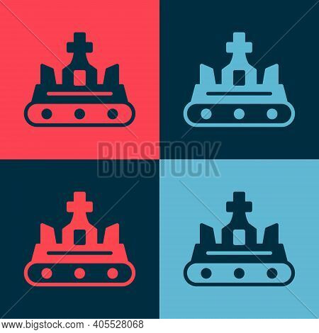 Pop Art British Crown Icon Isolated On Color Background. Vector