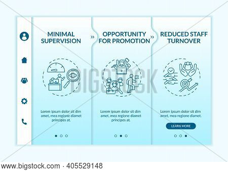 Employee Training Advantages Onboarding Vector Template. Worker Position Advancement. Reduced Staff