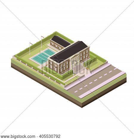 Isometric School. Vector Isometric Illustration. Vector Isometric Element Representing School Or Uni