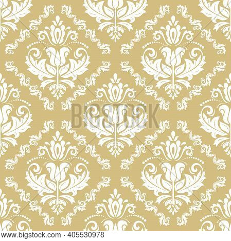 Orient Classic Pattern. Seamless Abstract Yellow And White Background With Vintage Elements. Orient