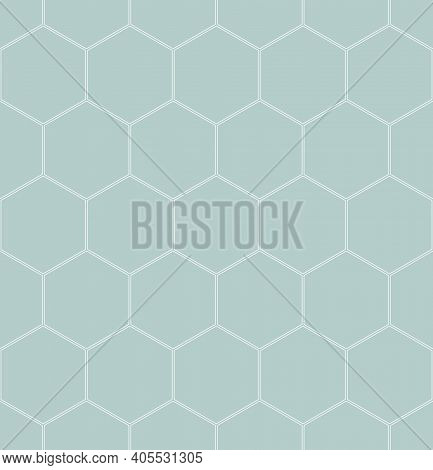 Geometric Abstract Hexagonal Background. Geometric Modern Light Blue And White Ornament. Seamless Mo