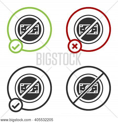 Black No Money Icon Isolated On White Background. Prohibition Of Money. Circle Button. Vector