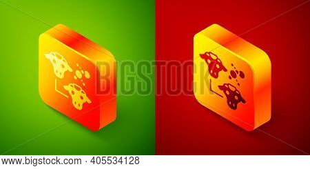 Isometric Cloning Icon Isolated On Green And Red Background. Genetic Engineering Concept. Square But