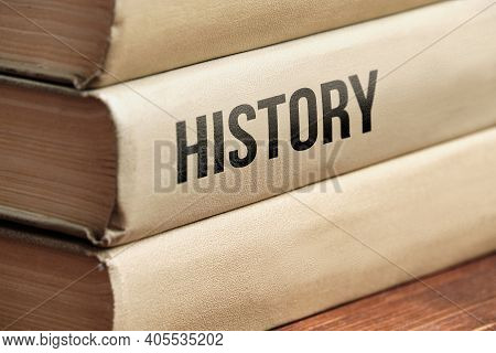 History Subject Book Concept On A Wooden Table For Learning