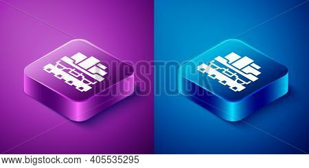 Isometric Cargo Train Wagon Icon Isolated On Blue And Purple Background. Full Freight Car. Railroad