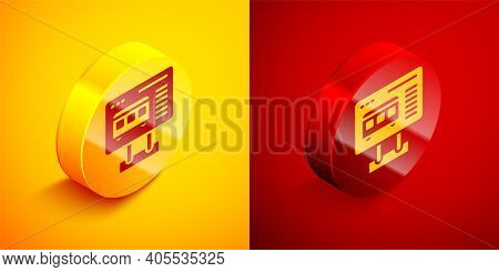 Isometric Ticket Office To Buy Tickets For Train Or Plane Icon Isolated On Orange And Red Background