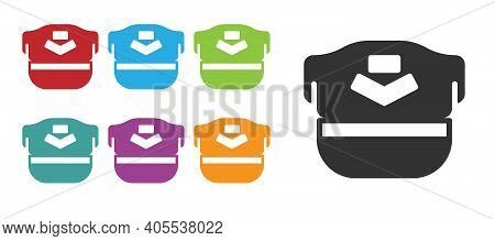 Black Pilot Hat Icon Isolated On White Background. Set Icons Colorful. Vector