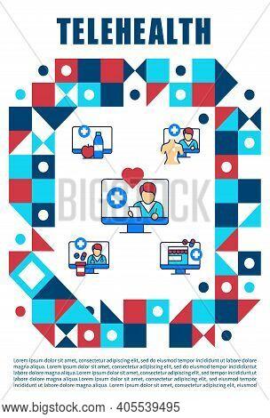 Telehealth Medical Care Brochure. Virtual Medical Consultation.telemedicine Cover Design And Flyer L