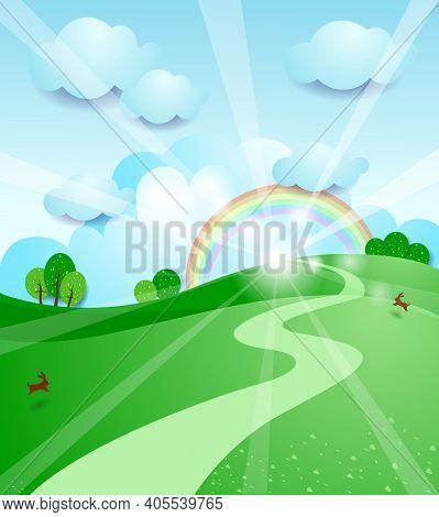 Sunrise, Landscape With Animals.  Vector Illustration Eps10
