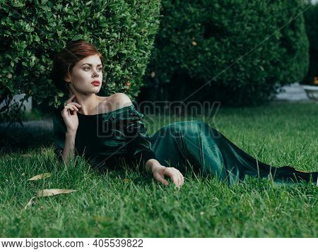 Woman In Green Dress Lies On The Grass Nature Luxury Gothic Princess