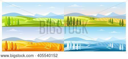Cartoon Summer Spring Autumn Winter Scenes With Green Grassland Meadow, Blue Snow Hills, Yellow Wild