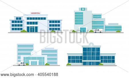 Hospital Building Medical Office Vector Illustration Set. Cartoon Modern Medicine Clinic Skyscrapers