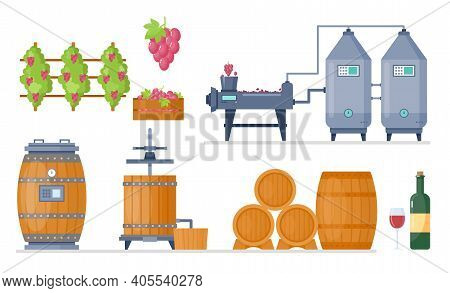 Wine Production Process In Winery Factory Manufacture Vector Illustration Set. Cartoon Processing Li