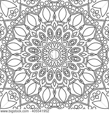 Coloring Book Pages. Mandala. Indian Antistress Medallion. Abstract Islamic Flower. Children's And A