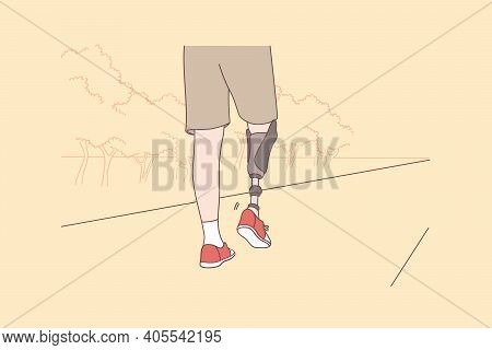 Disabled And Handicapped People Active Lifestyle Concept. Low Angle View At Disabled Young Man With