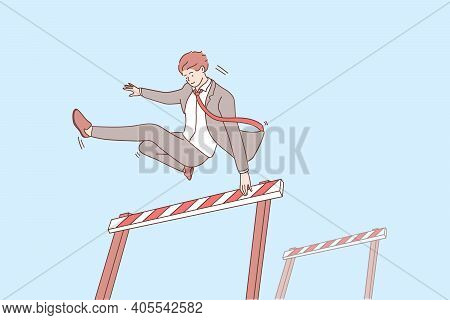 Overcoming Obstacles And Leadership Concept. Young Confident Smiling Businessman Cartoon Character J