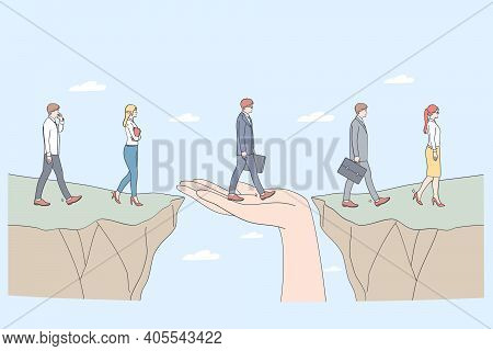 Protection And Partnership Concept. Human Hand Helping Business People To Step From One Side To Anot