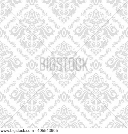 Orient Vector Classic Pattern. Seamless Abstract Background With Light Silver Vintage Elements. Orie