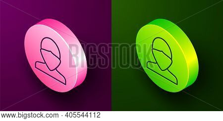 Isometric Line Vandal Icon Isolated On Purple And Green Background. Circle Button. Vector