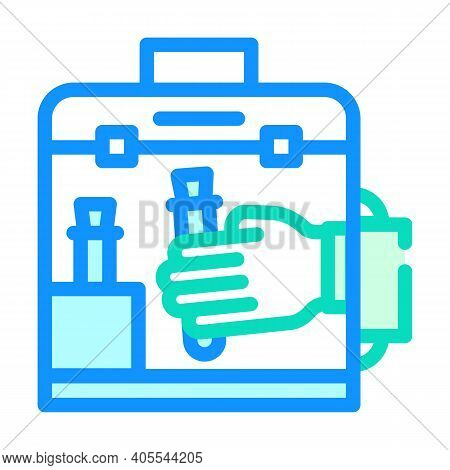 Vacuum Chamber For Work With Vaccine Color Icon Vector Illustration