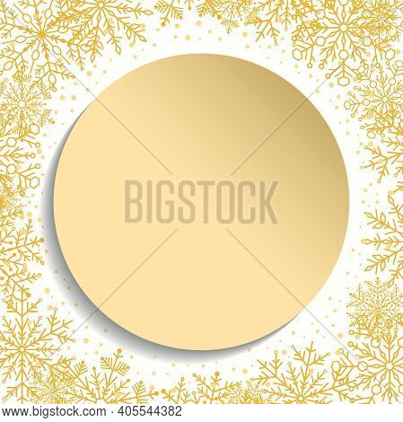 Nice Vector Card For Holiday With Golden Arabesques And Snowflakes. Golden And White Greeting Card.