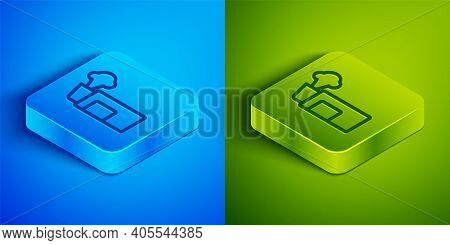 Isometric Line Pepper Spray Icon Isolated On Blue And Green Background. Oc Gas. Capsicum Self Defens