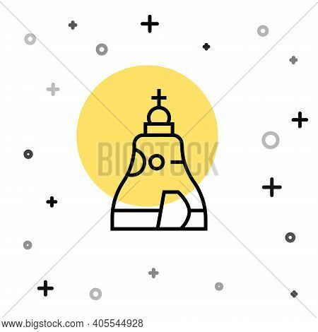 Black Line The Tsar Bell In Moscow Monument Icon Isolated On White Background. Random Dynamic Shapes