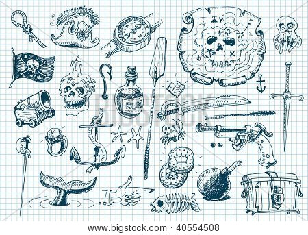 Pirates doodles set