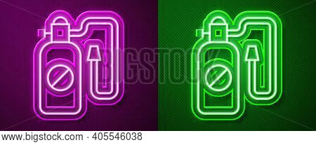 Glowing Neon Line Pressure Sprayer For Extermination Of Insects Icon Isolated On Purple And Green Ba