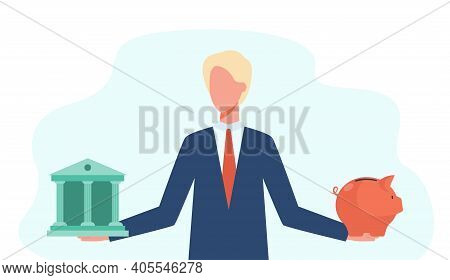 Pensive Man Choosing Between Bank And Piggybank. Savings, Protection, Wealth Flat Vector Illustratio