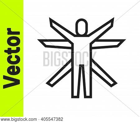 Black Line Vitruvian Man By Leonardo Da Vinci Icon Isolated On White Background. Human Anatomy. Vect