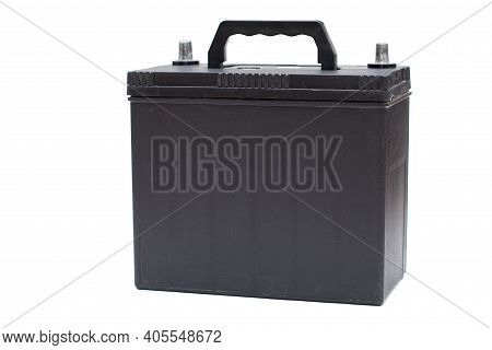 Black Rechargeable Car Battery On White Background